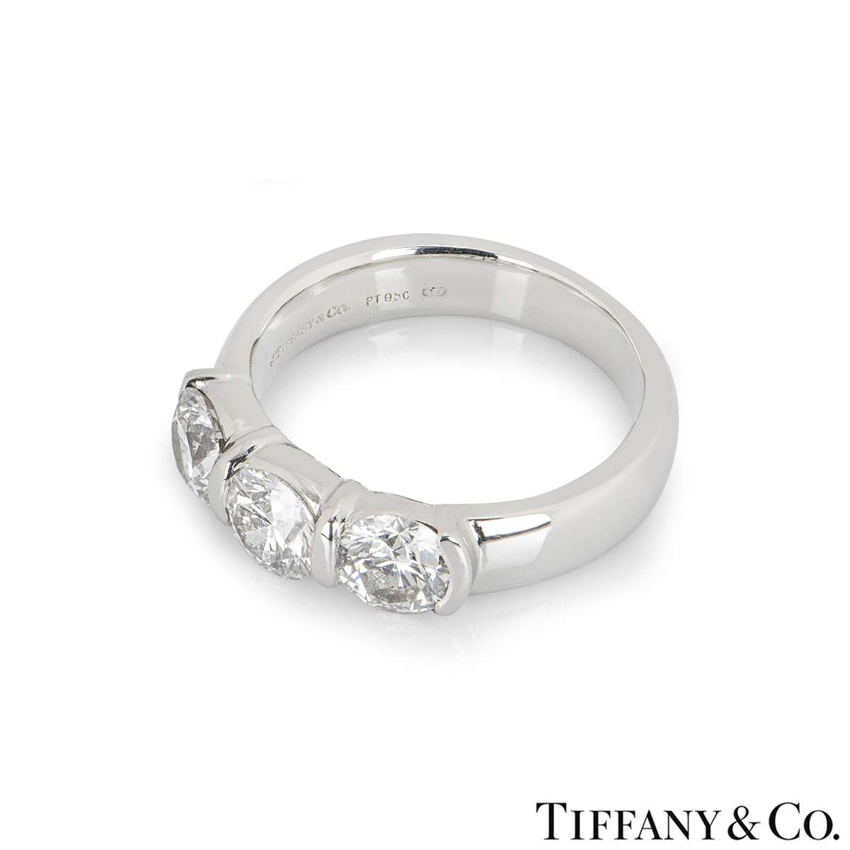 Tiffany & Co. Platinum Three Stone Diamond Ring